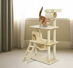 GHP 55 Beige Activity Center Cat Tree Tower Climbing Post Play House ** Click image for more details.