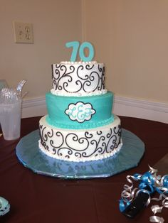 70th birthday cake in turquoise and silver Cakes Pinterest