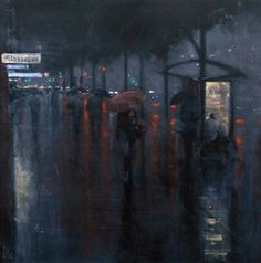 Mike Barr:  rain - bus stop King William Street in Adelaide