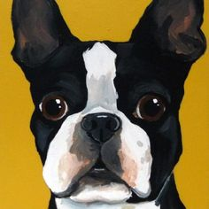 Boston Terrier Painting. Boston Terrier dog art portraits, photographs, information and just plain fun. Also see how artist Kline draws his dog art from only words at drawDOGS.com #drawDOGS