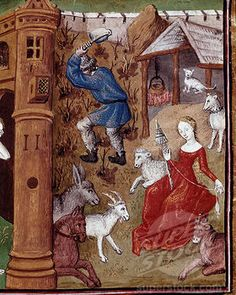 Stock Illustration : Eve spinning wool and Adam digging the earth, miniature from On Famous Women (De claris mulieribus), by Giovanni Boccaccio manuscript, France, century Spinning Wool, Hand Spinning, Spinning Wheels, Medieval Life, Medieval Art, Medieval Crafts, Medieval Manuscript, Illuminated Manuscript, Art Du Fil