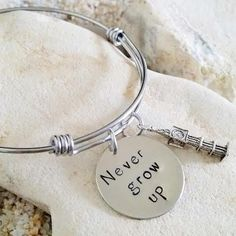 Bangle  Hand Stamped  Disney  Peter Pan  Never Grow by KKandWhimsy