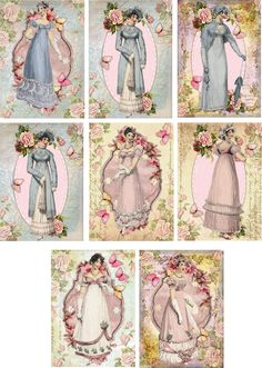 Vintage Jane Austen pink blue gowns roses note cards tags ATC set of 8 #handmade #AnyOccasion