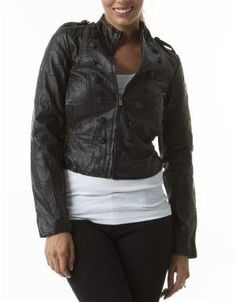 (CLICK IMAGE TWICE FOR DETAILS AND PRICING) Cadet Faux Leather Jacket Black. Balance this on trend military inspired jacket with feminine tops and pair with tailored pants or jeans.. See More Coats and Jackets at http://www.ourgreatshop.com/Coats-and-Jackets-C76.aspx