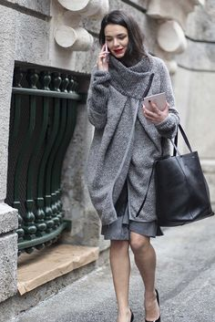 Cozy in a sweater coat. #MFW