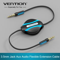 Vention 3.5mm jack estéreo cable de audio aux cable de extensión flexible retráctil aux cable de línea aux auriculares de música mp3 reproductor de cd