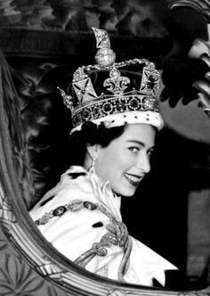 Queen Elizabeth II in her coach on the day of her Coronation, 1953.