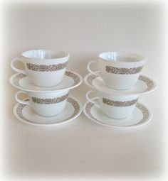 Corelle Pyrex Woodland Brown Cups and by vintage19something