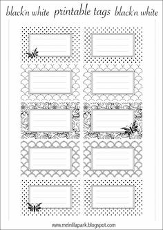 FREE printable tags | #blackandwhite | for name plates, address labels, envelope seals, book plates