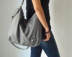 63045dc35ba Grey leather bag - Leather hobo bag - Soft leather bag - Laptop bag - LARGE