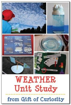 This FREE Weather Unit Study is the perfect way to study weather this spring. Plus, there is a rich array of topics to cover during any unit on weather, in Weather Activities For Kids, Preschool Weather, Weather Crafts, Weather Science, Weather Unit, Weather Center, Science Lessons, Teaching Science, Science Activities