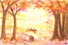 My print seems popular!  Place your order today!  Autumn Leaves Fall Bunnies by FaerieGardenFancies