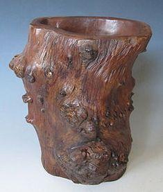 CHINESE BRUSH POTS   Wonderful Chinese hardwood burl brush pot, nice striations and knots ...