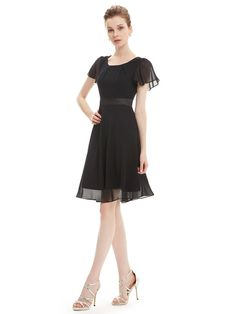 Amazon.com: Ever Pretty Round Neckline Sleeve Ruched Short Casual Wear to  Work Dress