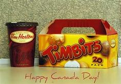 Tim Hortons coffee and Timbits to celebrate Canada Day on July Tim Hortons Coffee, I Am Canadian, Canada Day, True North, Spring Break, Goodies, Strong, Country, Think