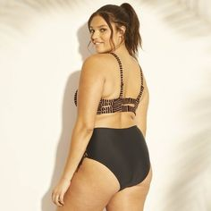 9ac2ec44cce9f Women s Plus Size Metallic Stripe Strappy Bralette Bikini Top - Xhilaration  Black 22W
