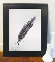 Original Ink Drawing Black & White Artwork, Feather Art. $15.00, via Etsy.