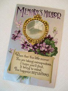 Victorian Greeting Memory's Mirror-Antique Victorian Greeting Card Postcard Memory's Mirror Violets Flowers Floral Vintage Ephemera