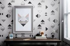 Papel pintado geométrico - decoración del hogar - hecho a mano en DaWanda.es