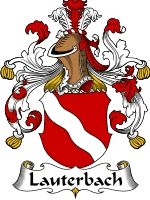 Lauterbach Coat of Arms / Lauterbach Family Crest  This surname of LAUTERBACH was of two-fold origin. It was an occupational name for a play...