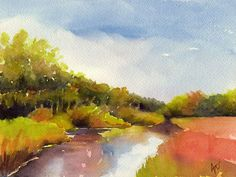 Original landscape watercolor painting Behind by BlueBirdHill