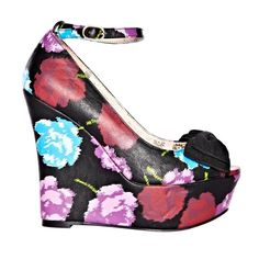 Betsey Johnson Betseyville Floral Wedges 6 This is a pair of Betsey Johnson Betseyville Floral Wedges in a size 6. They were worn once for a photoshoot and no-slip grip pads were added to the bottom to avoid slipping. No issues and or any signs of wear! Perfect for spring! Come in their original box! Betsey Johnson Shoes