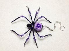 Kenzi  purple and black glass beaded spider goth sun by llanywynns, $18.00