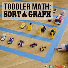 Teaching sorting and graphing to toddlers in a simple activity using toys. Toddlers learn how to sort toys, create a graph, and answer questions about it. Fun Indoor Activities, Toddler Learning Activities, Sorting Activities, Preschool Lessons, Preschool Activities, Best Toddler Games, Toddler Gifts, Early Childhood Activities, Toddler Classroom