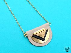 Lune small necklace, beige, graphic shape in leather, via Etsy.