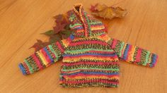 SALE - Bright, warm hoody for baby, 0 - 3 Months, Hand knit by MakerMouse on Etsy
