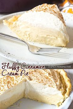 Cinnamon Cream Pie with Brown Sugar Whipped Cream - A fluffy no-bake pie recipe with homemade whipped cream. A wonderful substitute for pumpkin pie!  #ASpicyPerspective via @spicyperspectiv
