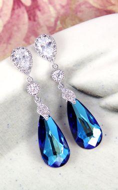 Wasima Bermuda Blue Faceted Teardrop Crystal by GlitzAndLove
