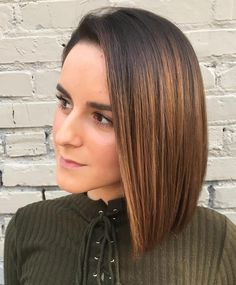 Sleek Straight Brown Balayage Bob