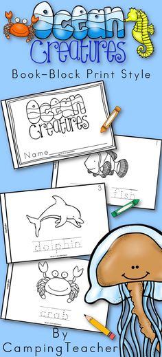 Ocean Creatures Book for kindergarten and first grade.
