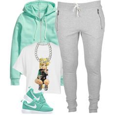 A fashion look from February 2015 featuring white shirt, green jacket and sweat pants. Browse and shop related looks.