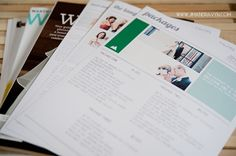 Info about packages, FAQ, Tips on good wedding photography, 2 bridal magazines, and contract.