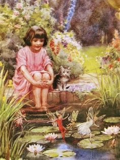 adorable Margaret Tarrant picture - If I sit very patiently like this, maybe I'll see the fairies too! Fairy Land, Fairy Tales, Baumgarten, Illustration Art, Illustrations, Elves And Fairies, Fairy Pictures, Vintage Fairies, Love Fairy
