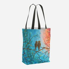 Now available, Lovebirds Tote Bag http://www.louisemead.co.uk/products/sunset-lovebirds-abstract-tote-bag-orange-blue-turquoise-teal-weatherproof-lined-reusable-tote-shopping-beach-bag-gym-bag-swimming-tote?utm_campaign=social_autopilot&utm_source=pin&utm_medium=pin
