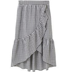 MANGO Gingham print skirt (2.830 RUB) ❤ liked on Polyvore featuring skirts, mango skirts, flounce skirt, gingham skirt, wrap skirts and ruffled skirts
