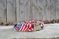American Flag Dog Collar Red White and Blue Dog by SitStayStitch
