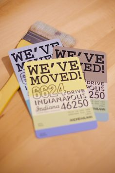 Paint-Chip-Moving-Announcements || I love this. What a great way to let people know your new address. I'm such a fan of running unexpected things through your printer.