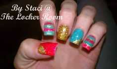 Coral, teal and gold nails