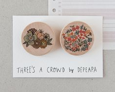 Flowers  pack of illustrated wooden brooches by depeapa on Etsy, $22.00