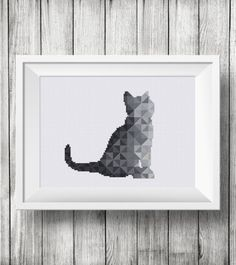 Black Geometric Cat cross stitch gray pattern baby animal modern design