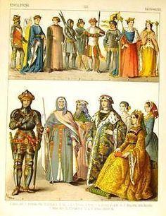 Kretschmer's Costumes -1882- Chromolithograph - ENGLISH (1400-1450)