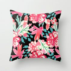 Red flower illustration Throw Pillow by Laura Dro - $20.00