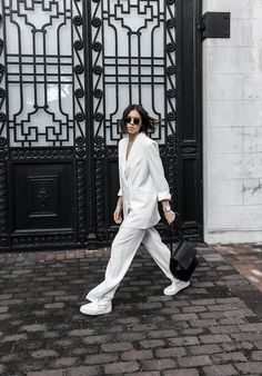 all white suit street style inspo fashion blogger celine Loxley bucket bag sneakers modern legacy minimal chic || @sommerswim