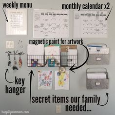 43 ideas for diy organization board command centers home office Family Organization Wall, Office Organization At Work, Organization Station, Clutter Organization, Family Organizer, Kitchen Organization, Organizing Ideas, Studio Organization, Command Center Kitchen