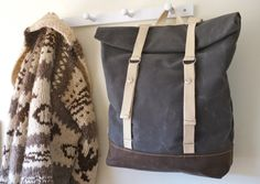 Barnacle bags - Waxed Canvas Rucksack with Adjustable Straps - Weather Resistant - Grey & Dark Tan - Stripes