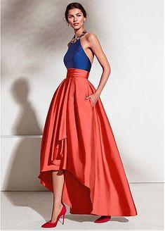 [126.69] Enchanting Satin Halter Neckline Backless Hi-lo A-line Prom Dress With Beadings & Pockets - dressilyme.com